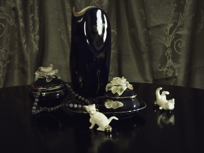 Still life with porcelain kittens and vase by Heidi Rondak
