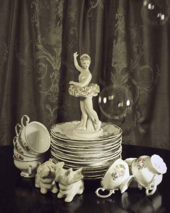Still life with porcelain ballerina by Heidi Rondak