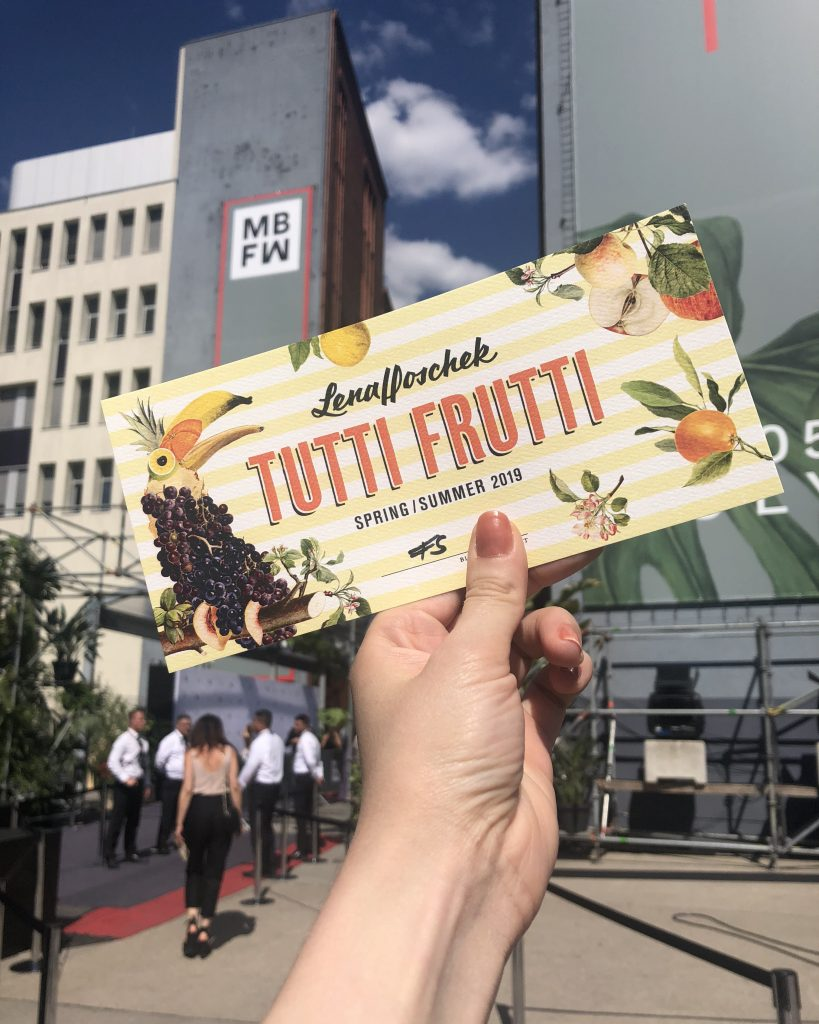 Ticket to Lena Hoschek's Tutti Frutti fashion show at Fashion Week berlin in July 2018