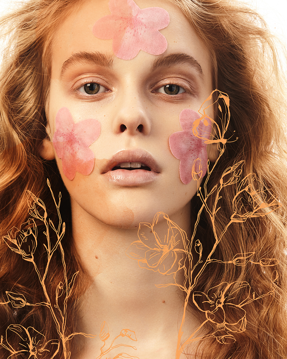 Beauty editorial with model Esther Lomb from Vivienne Models by Heidi Rondak with Illustrations by Silvan Borer for Meiyo Magazine